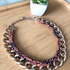 2/25 Orange textile wrap chain necklace